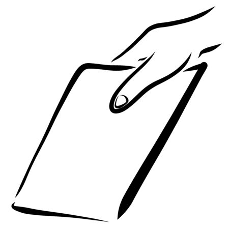 hand holds a blank sheet of paper, black outline