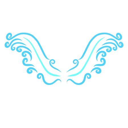 two graceful blue wings of curls, pattern Zdjęcie Seryjne