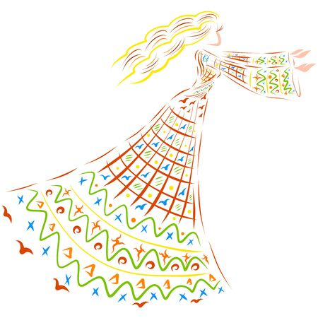 beautiful girl who is dancing or calling someone Zdjęcie Seryjne