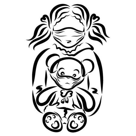 girl in a medical mask holds a teddy bear Zdjęcie Seryjne