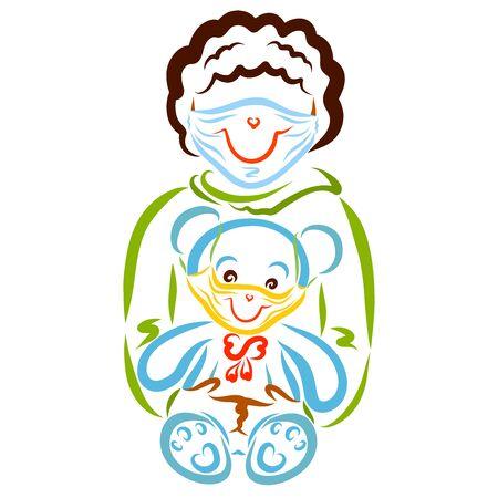 baby and bear in smiling medical masks Zdjęcie Seryjne