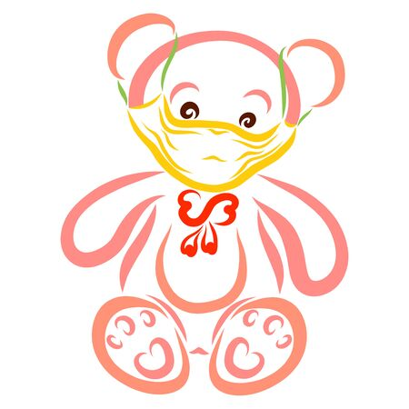 teddy bear in a yellow medical mask