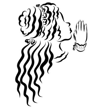 girl with beautiful hair prays to God Zdjęcie Seryjne