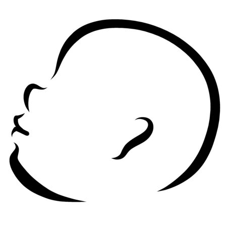 head of a cute baby looking up, black outline
