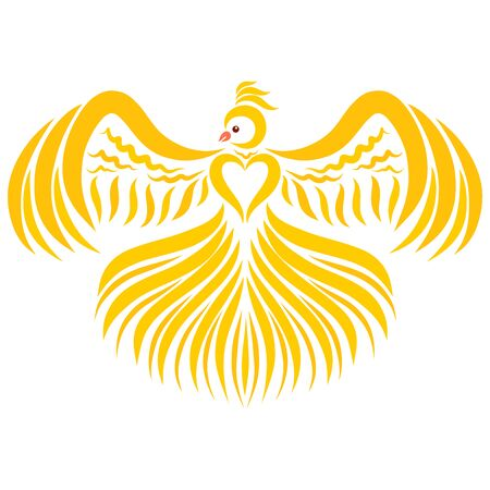 yellow bird with a heart on a breast