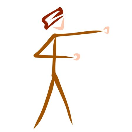 man is engaged in martial arts, punch, abstract pattern