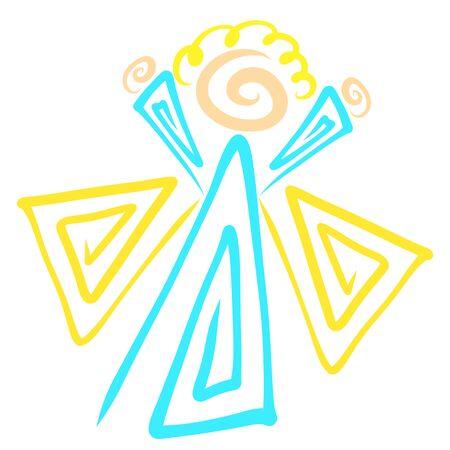 Angel joyfully raising his hands up, abstract pattern