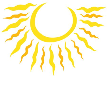 round sun with wavy rays and blank background