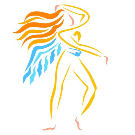 winged woman is emotionally dancing or doing gymnastics Banque d'images