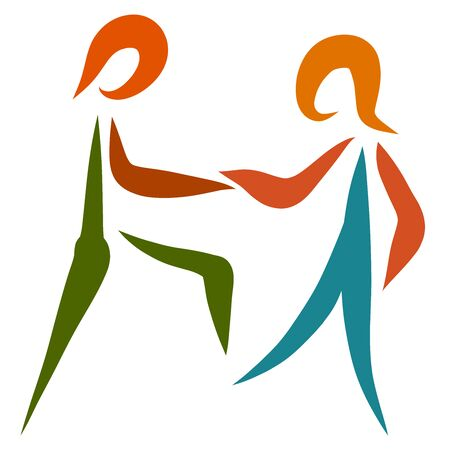 handshake when meeting, dance or game, two people