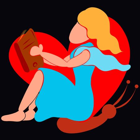 girl sitting on a background of a butterfly in the shape of a heart is reading a book