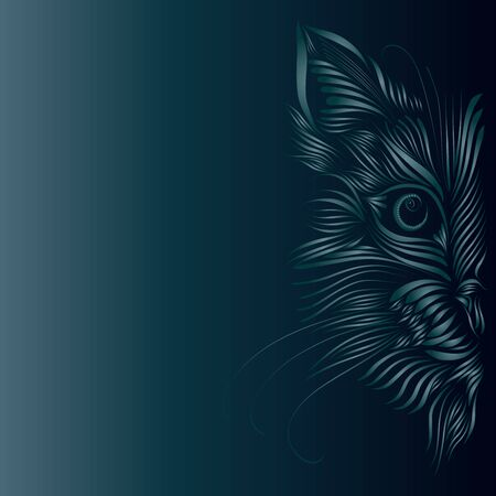 abstract fluffy head muzzle of an animal cat predator turquoise graceful lines tattoo piercing eyes Zdjęcie Seryjne