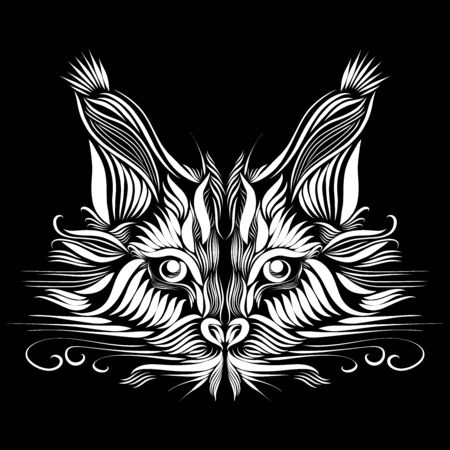 abstract muzzle of a predatory lynx of white color on a black background with a piercing gaze of eyes, elegant lines of a tattoo