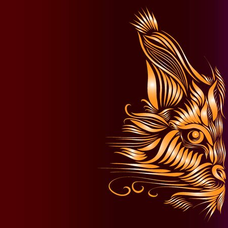 abstract muzzle of a predatory lynx of orange color on a burgundy background, graceful lines of a tattoo, piercing eyes