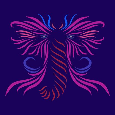 abstract shaggy mammoth head with tusks of a tribal wild fairy tale creature fantasy animal of pink flowers on a violet background with elegant lines tattoo