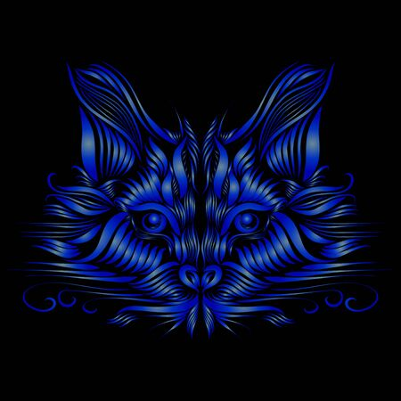 abstract muzzle of a predatory cat of blue color on a black background, graceful lines of a tattoo, piercing eyes