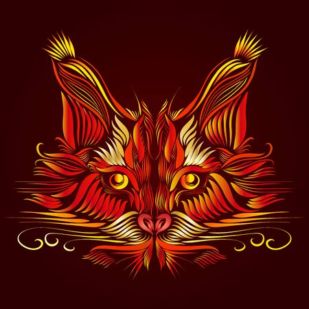 abstract muzzle of a predatory lynx of red and orange color with bright yellow piercing eyes, elegant lines of a tattoo