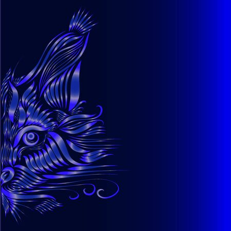 abstract muzzle of a predatory lynx of lilac color on a purple and blue background, graceful lines of a tattoo, piercing eyes