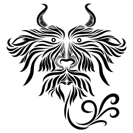 abstract shaggy with horns muzzle tribal wild predatory fairy tale fantasy fantasy black animal on a white background with elegant tattoo lines