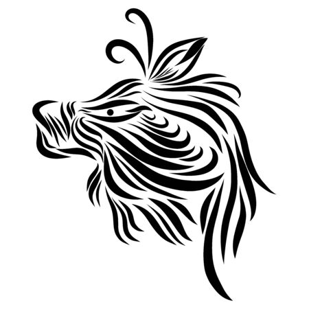 abstract shaggy face of a tribal wild fairy tale creature fantasy animal black on a white background with elegant tattoo lines