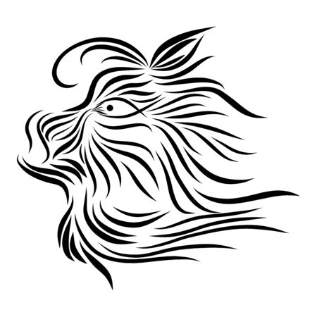 abstract shaggy muzzle of a tribal wild predatory fairytale creature fantasy black animal on a white background with elegant tattoo lines