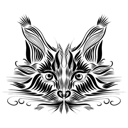 black muzzle of a predatory lynx of black color on a white background, graceful lines of a tattoo, piercing eyes