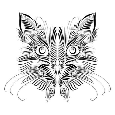 fluffy head muzzle of an animal predator cat of black color elegant lines tattoo piercing eyes
