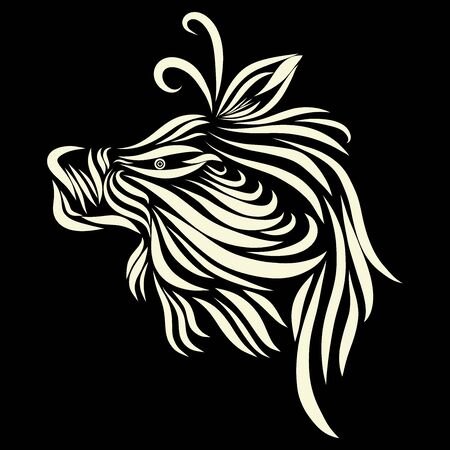 abstract shaggy muzzle of a tribal wild fairy tale creature fantasy animal of white flowers on a black background with elegant tattoo lines Zdjęcie Seryjne