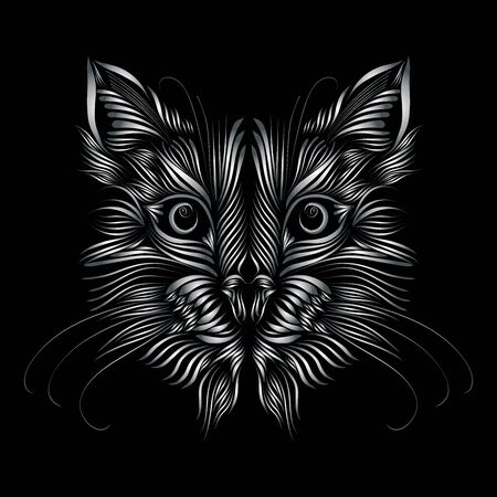 abstract muzzle of a predatory cat of metallic color on a black background, graceful lines of a tattoo, piercing eyes