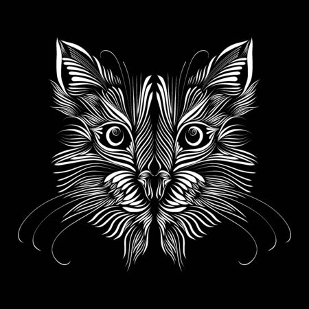 abstract muzzle of a predatory cat of white color on a black background, graceful lines of a tattoo, piercing eyes