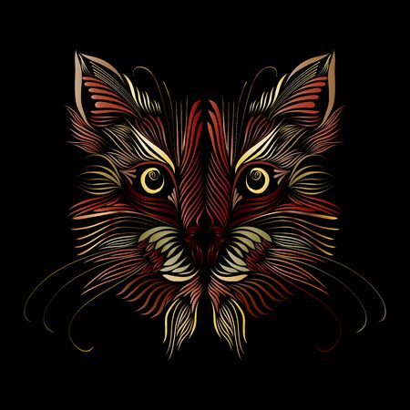 abstract muzzle animal predator cat multicolor graceful line tattoo, piercing eyes