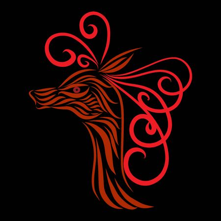 abstract head of an antelope tribal wild fairy tale creature fantasy animal of red flowers on a black background with graceful lines of a tattoo