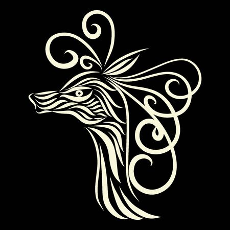 abstract head of an antelope tribal wild fairy tale creature fantasy animal of white colors on a black background with elegant tattoo lines