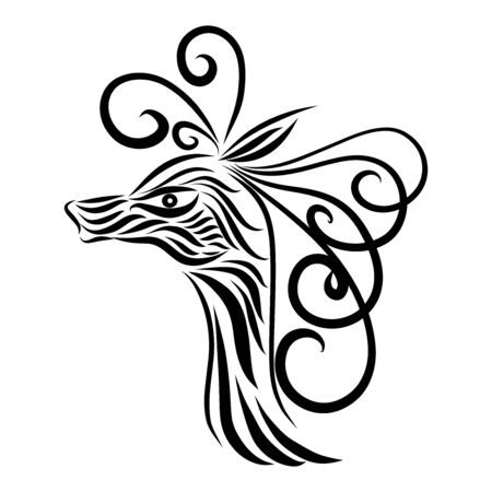 abstract antelope head of a tribal wild fairy tale creature fantasy animal of black colors on a white background with elegant tattoo lines