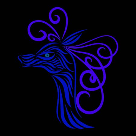 abstract antelope head of a tribal wild fairy tale creature fantasy animal of violet and blue colors on a black background with elegant tattoo lines Zdjęcie Seryjne