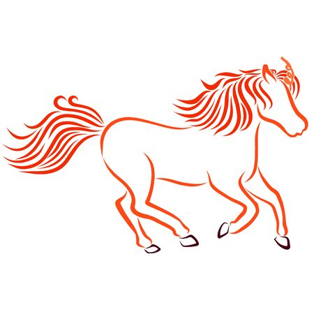 fast running fiery unicorn, red sketch on a white background