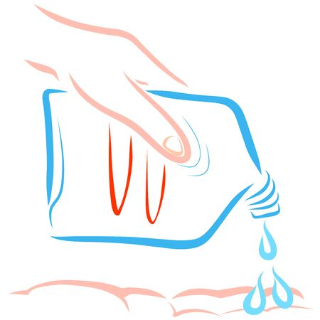 antiseptic or detergent dripping on the hand, hygiene