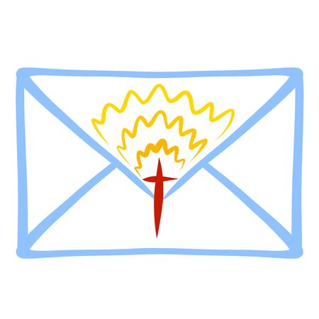 blue envelope with a shining christian cross