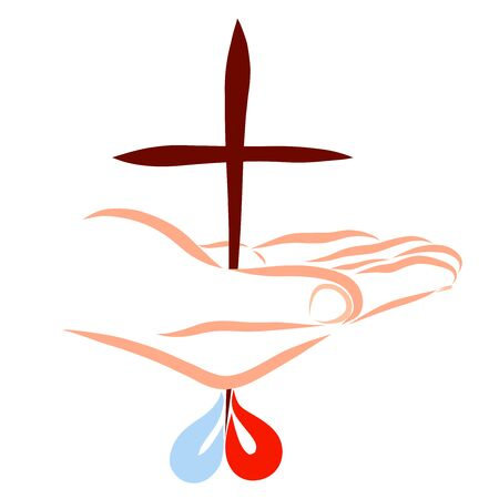 The cross pierces the Savior's hand, a heart of drops of blood and water