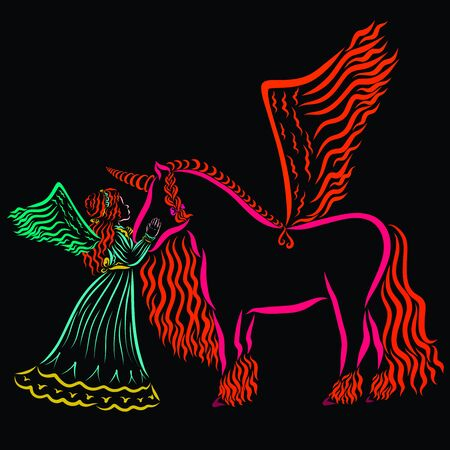 winged girl and winged fiery unicorn, pattern on a black background