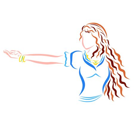 girl with long wavy hair extends her hand to the side