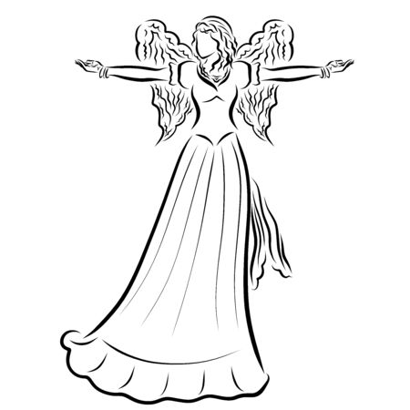 winged woman in a long dress, arms outstretched to the sides