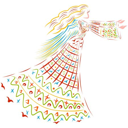 winged woman in a long dress with a colorful pattern stretches her arms forward