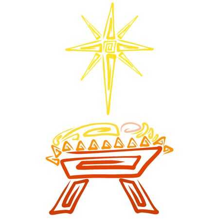 Newborn Savior in a manger and a shining Christmas star, creative pattern