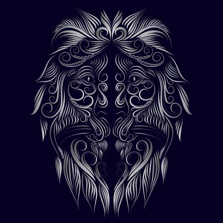 abstract head muzzle portrait of a lion long thin curls of hair mane tattoo gray on a blue background Stock Photo