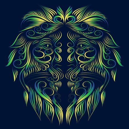 abstract fluffy lion head portrait of graceful animal face with elegant thin lines of green and yellow on a blue background