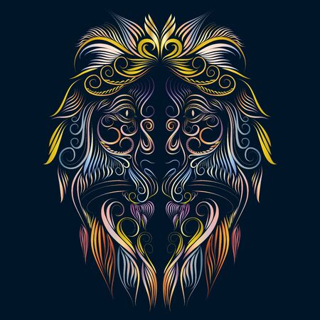 abstract fluffy mane head lion tattoo portrait of graceful thin lines ornament decorative Stock Photo
