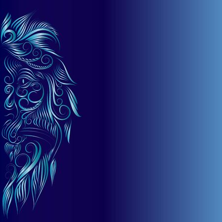 abstract fluffy lion head portrait of a graceful animal face with elegant delicate lines of turquoise and white on a blue background
