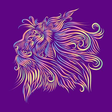 abstract head muzzle portrait of a lion long thin fluffy curls of hair mane yellow and green and red and blue on a lilac background Archivio Fotografico