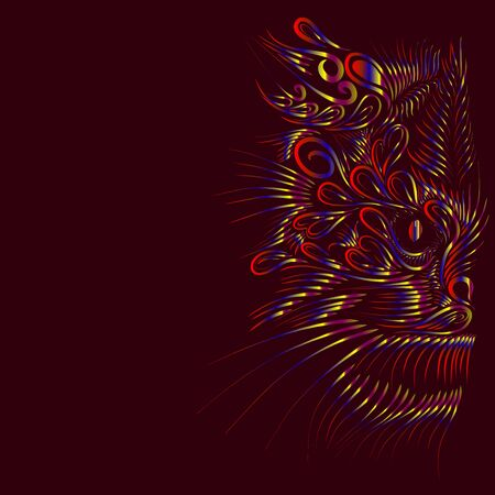 abstract shaggy head portrait muzzle cat and lynx mythical animal orange and yellow and pink and blue and green on a brown background Stock Photo
